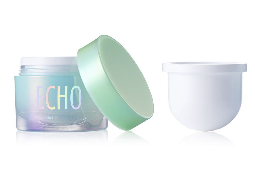 Refillable skincare jar packaging for beauty and cosmetics